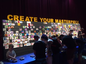 Lego Display With Caption 'Create Your Masterpiece""