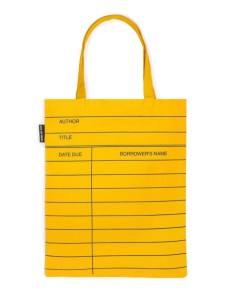 Tote Bag In Yellow Library Card Design